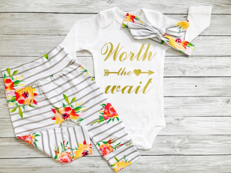Newborn Outfit Newborn Girl Outfit Worth The Wait Newborn Outfit Newborn Girl Newborn Girl Coming Home Outfit Newborn Outfit Girl