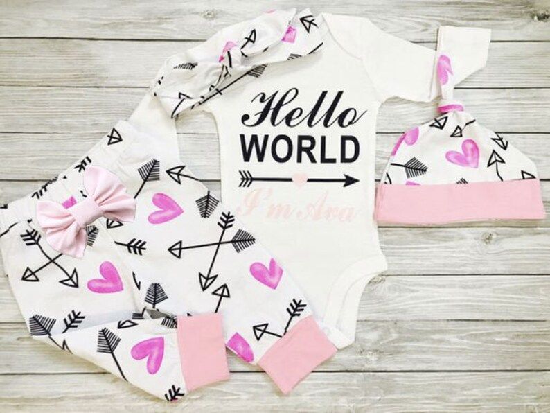 e9083e7973ead Baby Girl Coming Home Outfit Going Home Outfit Hospital | Etsy
