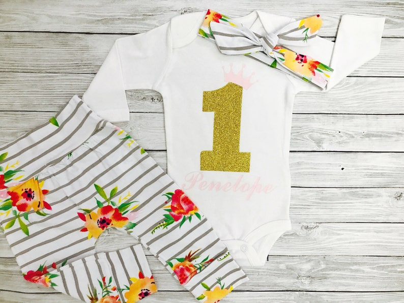 1146cbf0d Personalized First Birthday Outfit Girl One Year Old Girl