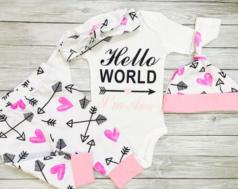 Newborn Baby Girl Outfits Newborn Girl Coming Home Outfit Personalized Newborn Outfit Hello World Newborn Outfit Baby Girl Take Home Outfit