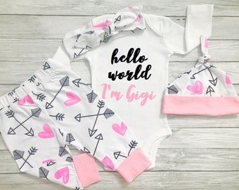 Newborn Girl Outfit, Newborn Girl Coming Home Outfit, Winter Newborn Girl Outfit, Baby Girl Coming Home Outfit, Hello World Outfit