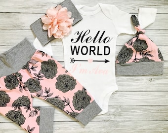 Baby Girl Coming Home Outfit, Hello World Newborn Outfit, Baby Girl Coming Home Outfit Winter, Personalized Newborn Outfit, Newborn Girl