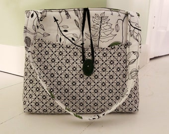 Multicolor red green beige owl bird leaf shopper tote travel Tapestry bag