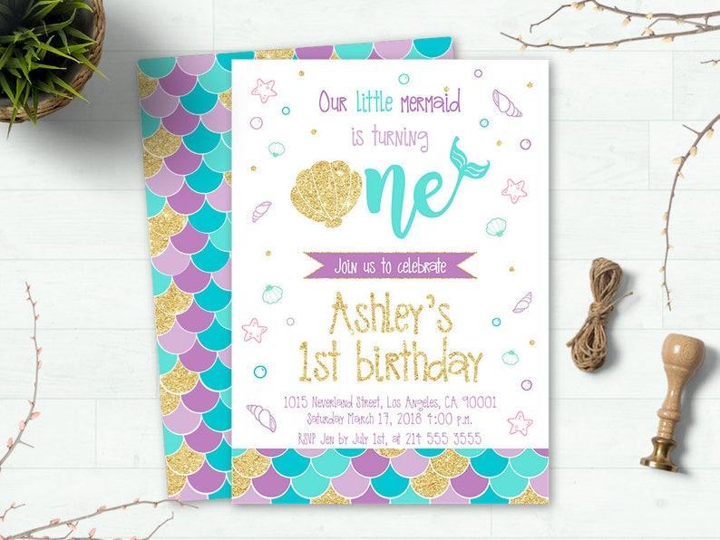 Mermaid Invitation Invites Birthday
