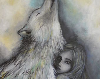 original acrylic painting on canvas, child, girl, wolf, dark
