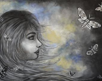 Original acrylic painting, canvas, moths, dark, girl