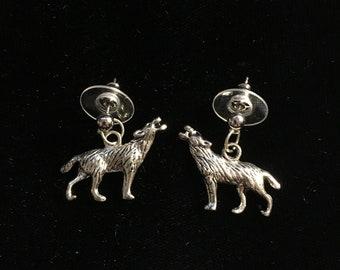 Wolf Charm on Post Style Pierced Earrings