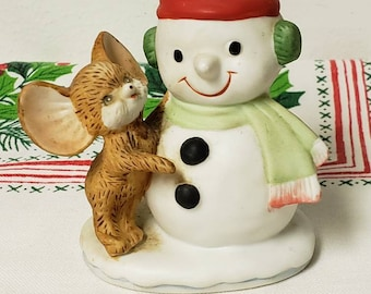 New Primitive Country Christmas VINTAGE SNOWMAN CHILDREN Statue Figurine 9/""