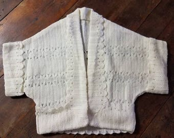 Vintage 50s Ivory Knit Womans Cardigan Sweater Shrug Small
