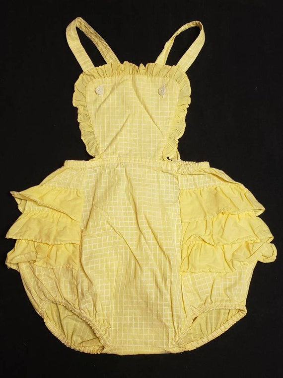 Vintage Toddler Girl's Yellow Bubble Romper Sunsui