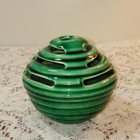 Vintage Green Pottery Flower Frog Vase Etsy