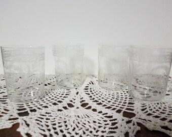 Antique Victorian Acid Etched Glasses Set