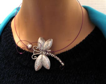 Fun-Necklace....Silver Dragonfly Choker...Purples...Lovely.....LOOK!
