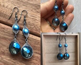 Wire Wrapped Glass Bead Dangle Earrings