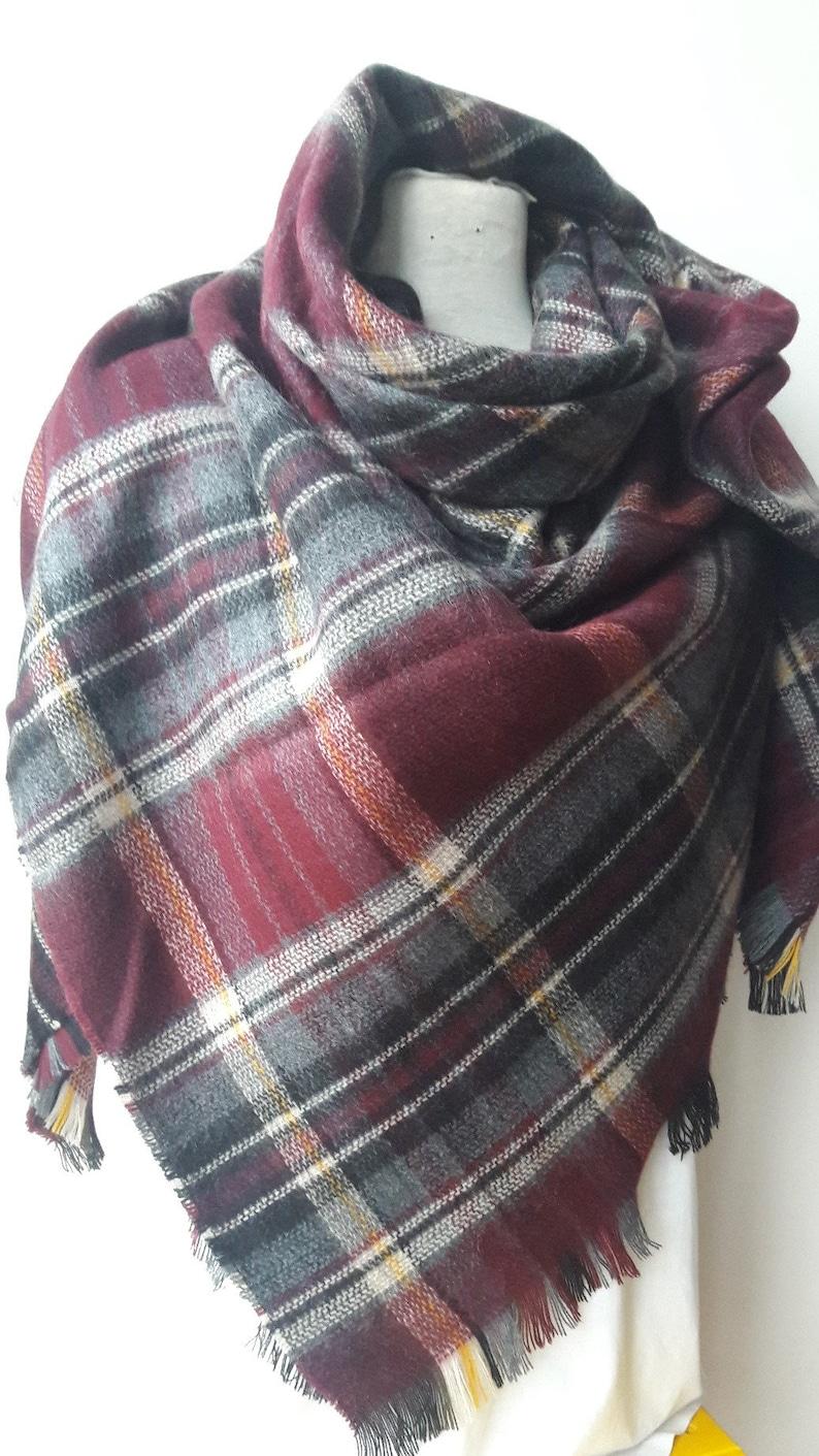 53cae7009e7 burgundy gray black tartan plaid blanket scarf- Scottish classic plaid  Flannel wrap shawl man woman blanket scarf-2018 winter fashion Turkey