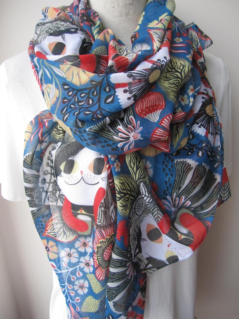 Floral Print Pattern Large Oblong scarf scarves