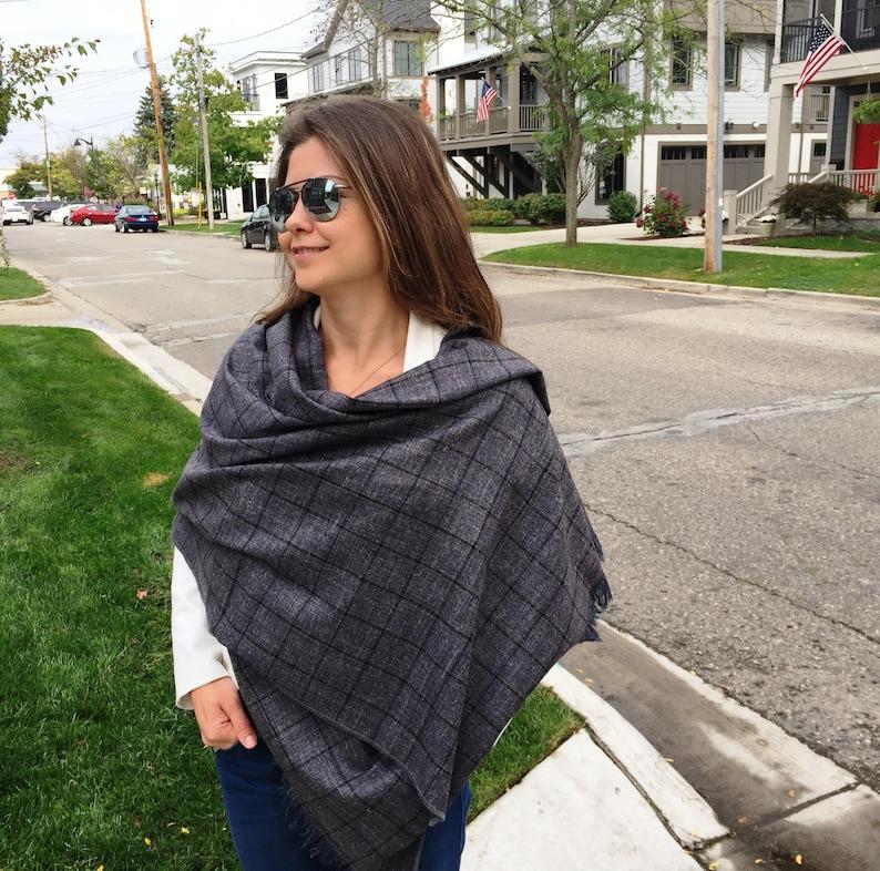 3a0c2dd47 Plaid blanket scarf wool cashmere wrap shawl blanket Scarf | Etsy