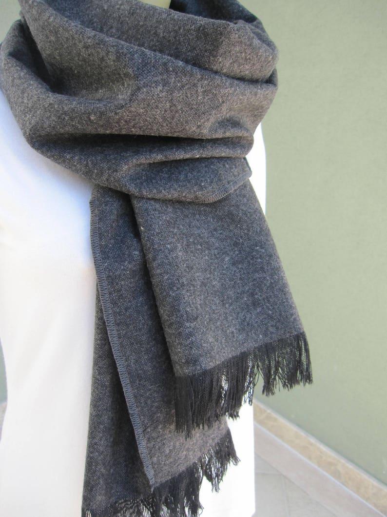 296fe55179d Écharpe en laine tissu hiver gris anthracite gris Cachemire