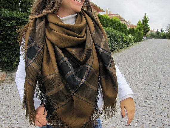 Plaid blanket scarf - Mustard tartan plaid