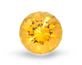 Natural 15mm Honey Citrine. Round Cut. Approximately 11.75 Total Carat Weight.