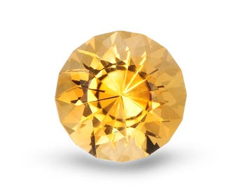 Natural 11mm Yellow Citrine. Round Cut. Approximately 4.58 Total Carat Weight.