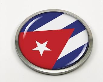 Cuba Cuban Flag Decal Car Chrome Emblem Sticker 3D