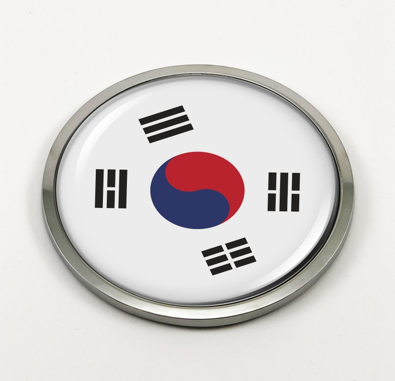 wo Chrome ROUND Bezel and 3D Clear Doming Resin South Korea FLAG Car Emblem Badge Sticker, Decal