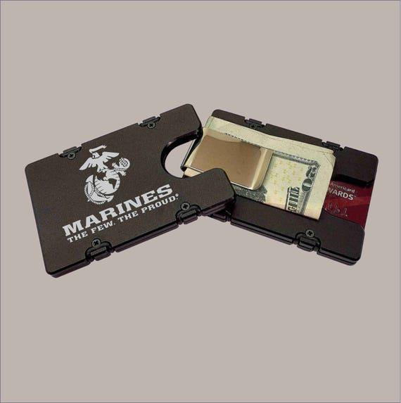 Black RFID protection American Flag Billet Aluminum Wallet//Credit card Holder