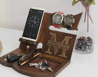 Anniversary Gifts For Men Wooden Docking Station Personalized Mens Gift Wood Valet Boyfriend Him