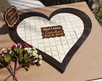 Mr. & Mrs. Wedding Guest Book Puzzle, Guest Book Frame, Wedding Guestbook Alternative, Puzzle Heart Guestbook,