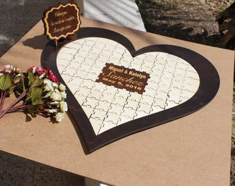 Wedding Book Alternative Guest Alternative Guestbook Custom Heart Rustic Wedding Personalized Book Anniversary Gift Weddding Puzzle