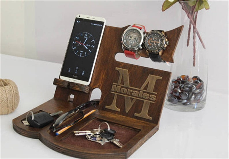 bdec9c65c02c Wooden Docking Station Anniversary Gifts for Men Gifts for him