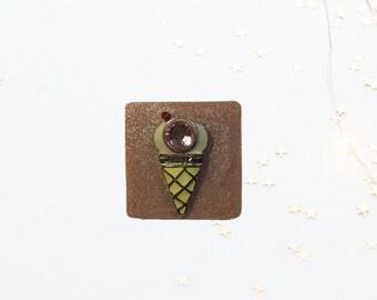 Pink Ice Cream, Neodymium Magnet, Handmade Fridge Jewelry