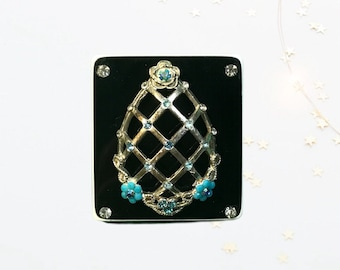 Silver Blue Flowered Egg, Neodymium Magnet, Handmade Fridge Jewelry