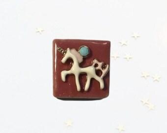 Pink Tile Unicorn, Neodymium Magnet, Handmade Fridge Jewelry