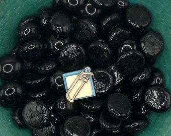 Silver Hacksaw on Blue Tile, Neodymium Magnet, Handmade Fridge Jewelry