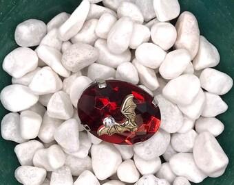 Ruby and Diamond Bat, Neodymium Magnet, Handmade Fridge Jewelry