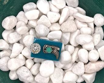 Turquois Cowboy Boot, Neodymium Magnet, Handmade Fridge Jewelry