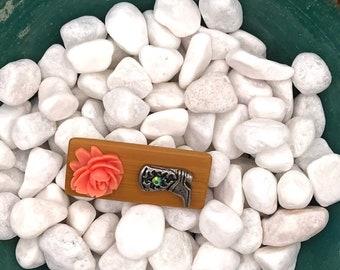 Orange Flowered Cowboy Boot, Neodymium Magnet, Handmade Fridge Jewelry