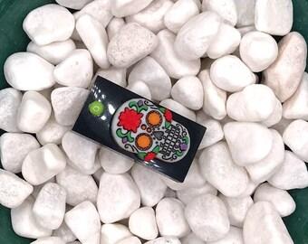 Orange and Green Sugar Skull, Neodymium Magnet, Handmade Fridge Jewelry