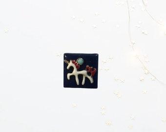 Blue Tile Unicorn, Neodymium Magnet, Handmade Fridge Jewelry