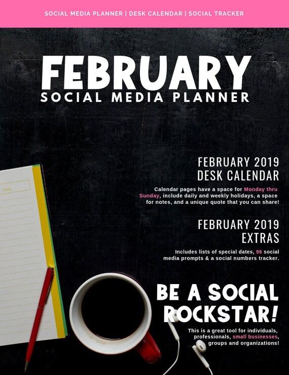 Social Media Calendar Plan For February 2019 February 2019 Social Media Planner Desk Calendar Doodle | Etsy