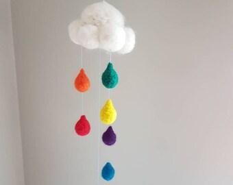 Felt rain cloud, sun catcher, rainbow kids room, mobiles for nursery, rainbow baby, waldorf wall hanging, felt clouds, rainbow cloud, decor
