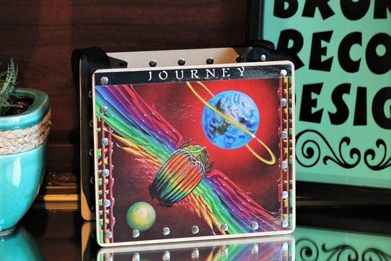 Journey Record Purse Steve Perry Journey Song Art 80's image 0