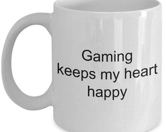 Gamer coffee mug Gaming keeps my heart happy 11 oz ceramic coffee tea mug