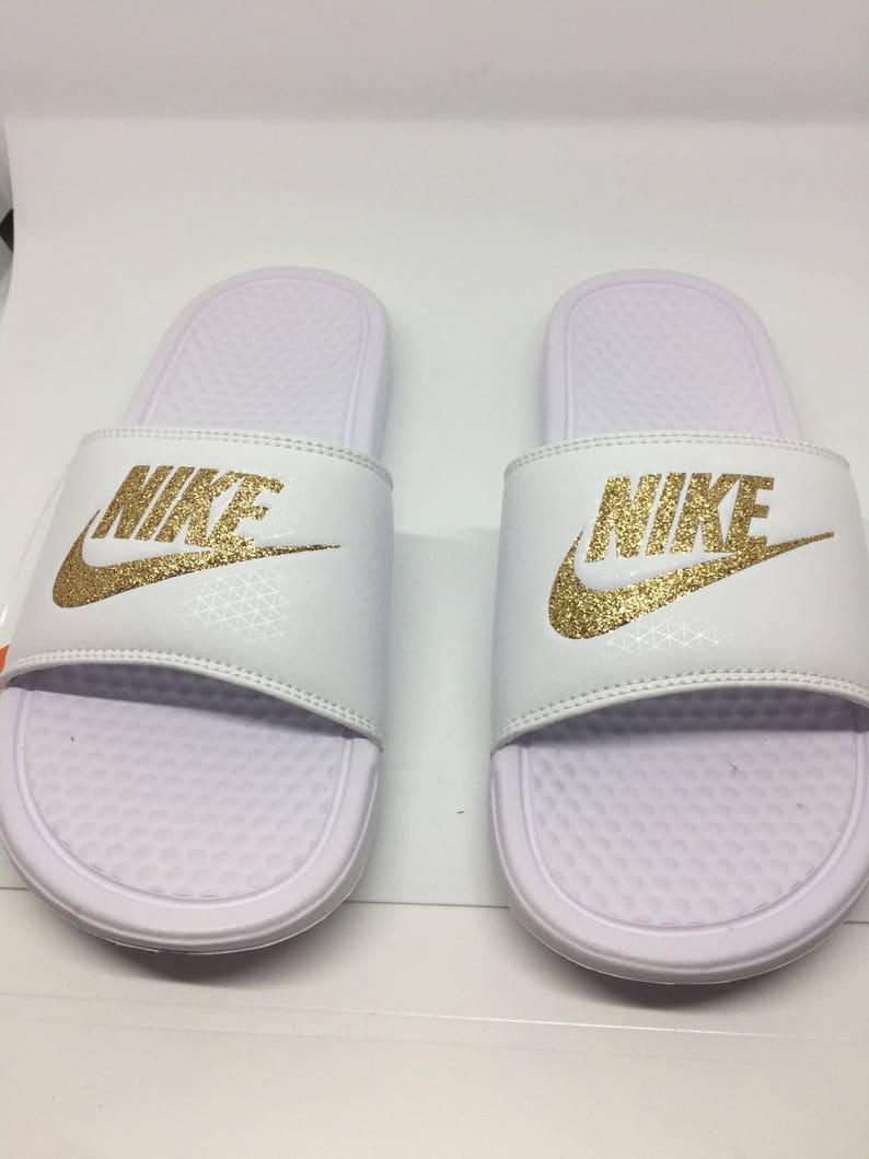ff7dcb7e26e1 Custom White Nike Slides Sandals with Gold Glitter Sparkling