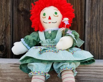 Handmade Raggedy Ann Doll with  Red hair and Green eyes..