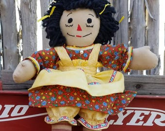 Handmade Raggedy Ann with Yellow Bows