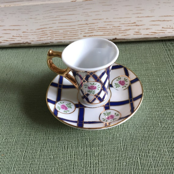 Miniature Decorative Cup And Saucer Cobalt Blue And Gold Etsy Stunning Decorative Cups And Saucers