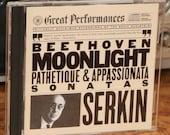 Serkin Beethoven CD (1983) Moonlight Pathetique Appassionata Sonatas Classical Music Orchestra Vintage 1980s Piano